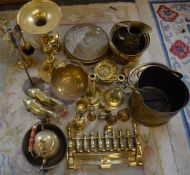 Large quantity of brassware including a coal scuttle & hearth tidy (2 boxes)