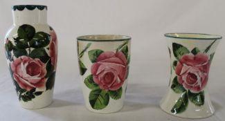 Wemyss pottery vase 16cm, flared rim vase 11cm & beaker 11cm all decorated with the cabbage rose