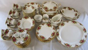 Large quantity of Royal Albert Old country roses dinner service approximately 79 pieces (crack to