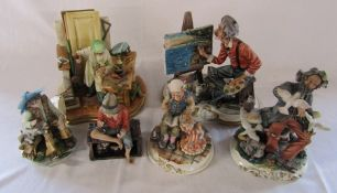Selection of Capodimonte figures inc carpenter and artist