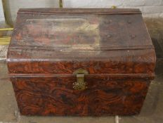 Early 20th century tin trunk with wood effect paint work L 76cm, D 52cm Ht 50cm