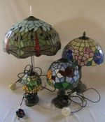 4 Tiffany style table lamps H 63 cm, 47 cm, 38 cm and 25 cm