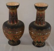 Pair of late 19th century German Mettlach ceramic vases Ht 28cm