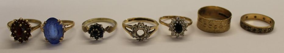Seven 9ct gold dress rings 14.9 g