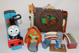 Thomas the Tank Engine Take N Play Misty Island set, spare track & carrying case full of trains (