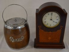 Early 20th century wooden mantel clock & a biscuit barrel