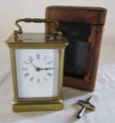 Brass carriage clock (height excluding the handle 11 cm) with travel case