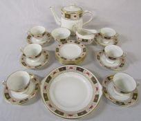 Royal Crown Derby 'Derby Border' tea service consisting of tea pot, milk jug, sugar bowl, cake