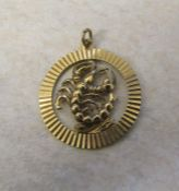 9ct gold pendant depicting the Scorpio star sign weight 2.6 g