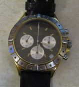 Zenith automatic tachymetre gold plated gents wrist watch, 31 jewels, leather strap, no 19.0120.400