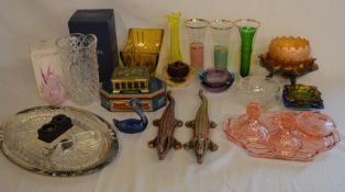 Various glass ware including Bohemia, Caithness, crocodile nut crackers etc