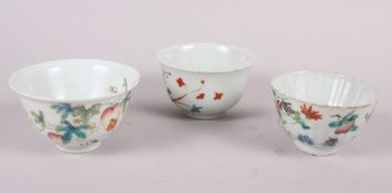 Three Chinese famille rose tea bowls