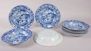 "A set of eleven early 19th century Davenport ""Chinese Garden"" pattern soup plates, 10"" dia"