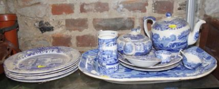 "A Spode ""Italian"" meat plate, 18"" wide, five matching plates, two teapots, and an assorted 19th"