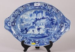 "An early 19th century Davenport ""Chinese Garden"" pattern oval meat dish, 16"" dia"