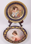 "A Vienna porcelain cabinet plate, decorated a maiden with flowers, signed Dedrich?, 9 1/2"" dia,"