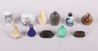"A Canton enamel miniature scent bottle with figure decoration, 2 3/4"" high, eight other scent"