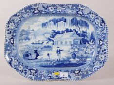 "An early 19th century Davenport ""Chinese Garden"" pattern meat dish, 19"" wide"