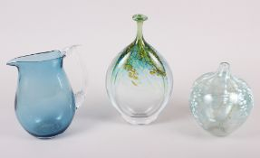 "A Siddy Langley bulbous glass vase, dated 1989, 6"" high, a Peter Layton oviform glass vase with"