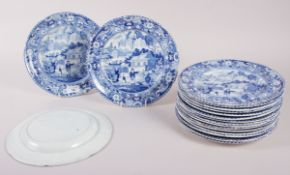 "A set of early 19th century Davenport ""Chinese Garden"" pattern large dinner plates, 10"" dia,"