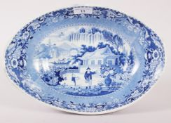 "An early 19th century Davenport ""Chinese Garden"" pattern oval dish, 13"" max dia"