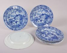 "A set of seven early 19th century Davenport ""Chinese Garden"" pattern dessert plates, 9"" dia"