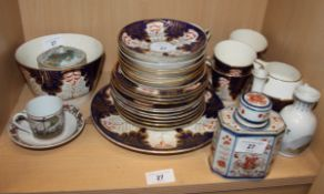 An Imari decorated part teaset, an Imari tea caddy and other decorative china