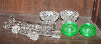 A pair of Whitefriars style candleholders, knife rests and other items