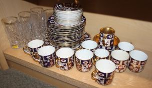 "A ""Savoy China"" Imari style part combination service and six cut glass drinking glasses"