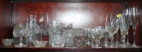 Three Dartington wine glasses, a pair of brandy balloons, champagne flutes and other table glass