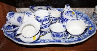 "A 19th century ""Celtic Flow Blue"" pattern part teaset, a Spode ""Italian"" pattern meat platter ("