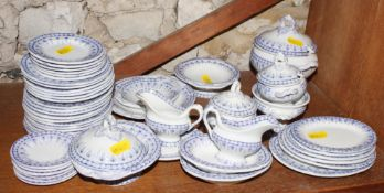 A 19th century Staffordshire blue and white transfer decorated miniature dinner service