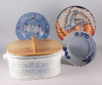 A Dennis Chinaworks plate, decorated birds, a Schonwald plate, a glass bowl and a Burleigh blue