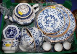 Assorted blue and white teaware