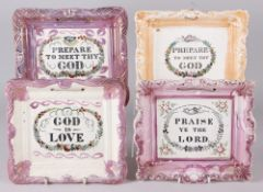 Four 19th century picture frame plaques with religious mottos