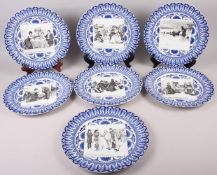 "Seven Royal Doulton blue and white decorated ""Gibson Girls"" cabinet plates, 10 1/2"" dia"