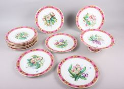 A Continental porcelain dessert service with hand-painted floral decoration and pink and gilt