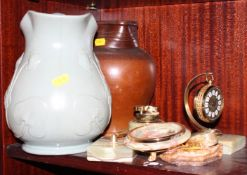 "An Art Nouveau design jug, 9"" high, an onyx table lighter, an onyx topped pill box and other items"