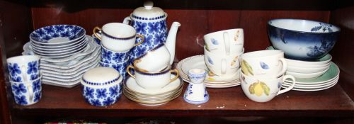 "A Rorstrand ""Mon Amie"" pattern part teaset, four Wedgwood ""Sarah's Garden"" pattern teacups,"