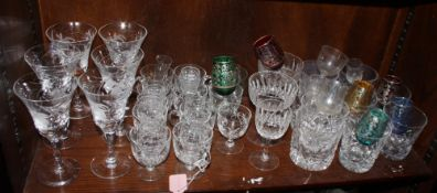 A set of six Royal Brierley wine glasses, decorated fuchsia flower, a set of eleven glass punch