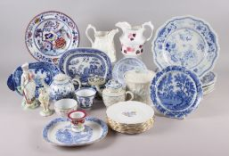Two 18th century Derby porcelain figures (damages), three early blue and white teapots, and other