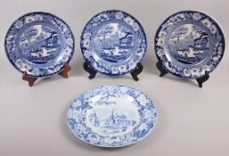 A set of three Don Pottery blue and white transfer decorated plates, decorated floral borders with