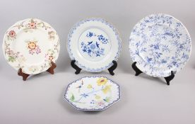 A Rockingham china floral decorated and gilt plate, two Brameld blue and white floral decorated