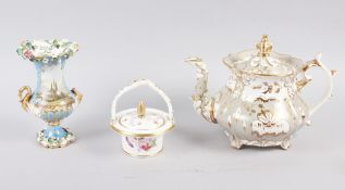 A Rockingham pot pourri basket, a small Rockingham blue and gilt vase with gilt bird handles and