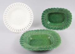 "A Brameld green glazed leaf and basket moulded oval dish, 10"" long, a matching smaller tureen ("