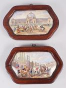 Two 19th century shaped pot lids, 1861 exhibition and cavaliers in a garden, in mahogany frames,