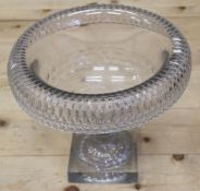 An early 19th century Anglo-Irish cut glass circular bowl with inverted rim, on square base, 10 1/2""
