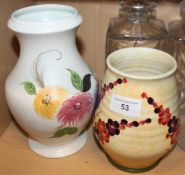 "Two Radford floral decorated vases, 6"" and 8"" high"