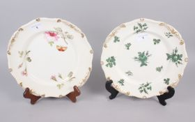 A Rockingham porcelain plate, decorated gilt gadroon border, centre painted pink roses and