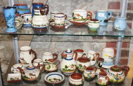 A collection of thirty-two pieces of Torquay Devon and other Cornish wares, various